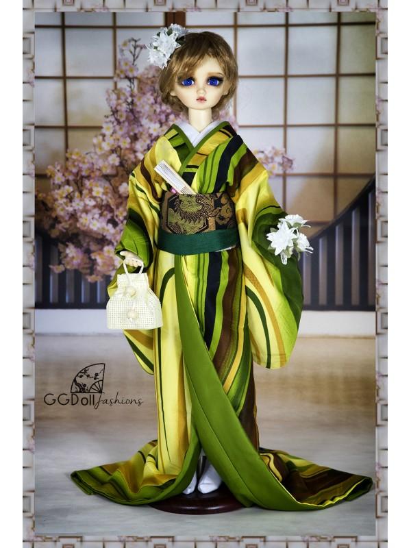 [ONE OFF] Fukuhara Mixed Silk Kimono (Lime)